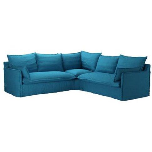 Isaac Medium Corner Sofa In Marina Brushed Linen Cotton