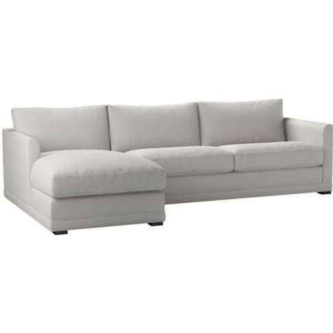 Aissa Large Lhf Chaise Storage Sofa In Alabaster Brushed Linen Cotton