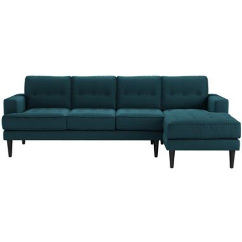 Mabel Large Rhf Chaise Sofa In Evergreen Brushed Lin...