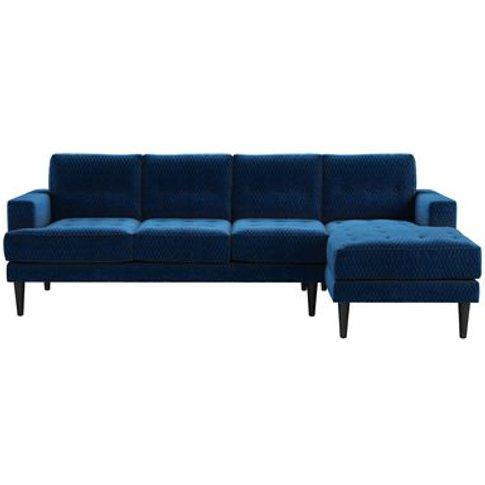 Mabel Large Rhf Chaise Sofa In Royal Blue Velvet Jac...