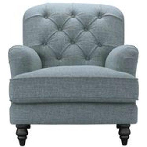 Snowdrop Button Back Armchair In Hydrangea Highland Tweed
