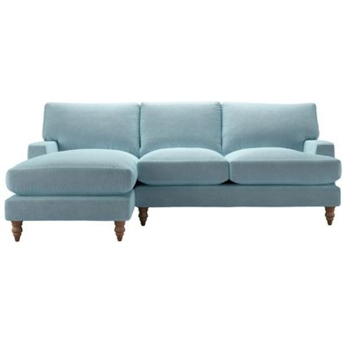 Isla Medium Lhf Chaise Sofa In Powder Blue Smart Velvet