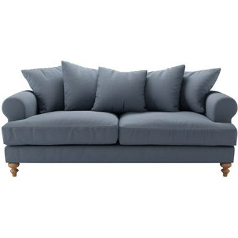 Teddy 3 Seat Sofa In Loch Brushed Linen Cotton