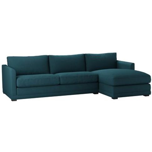 Aissa Large Rhf Chaise Sofa In Evergreen Brushed Lin...