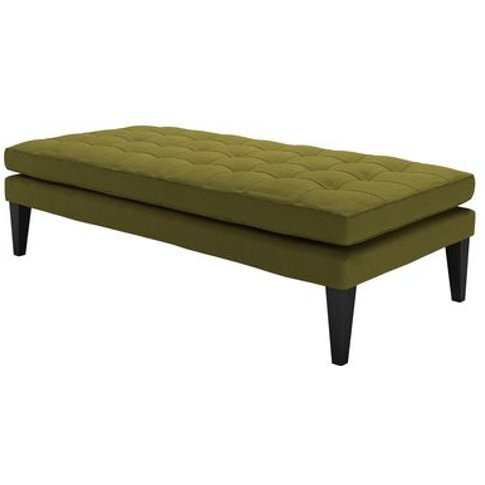 Club Large Rectangular Footstool In Royal Fern Brushed Linen Cotton