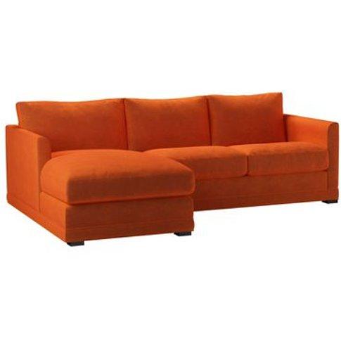 Aissa Small Lhf Chaise Sofa In Paprika Smart Velvet