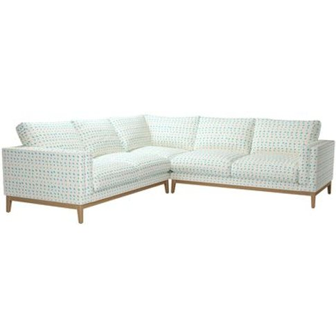Costello Wooden Plinth Large Corner Sofa In Gail Bry...