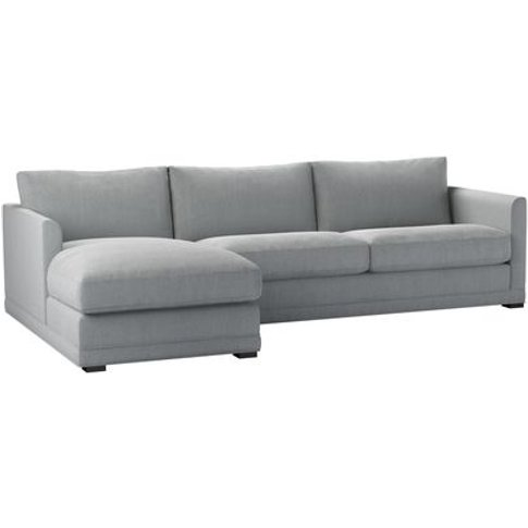 Aissa Large Lhf Chaise Sofa In Beluga Chenille