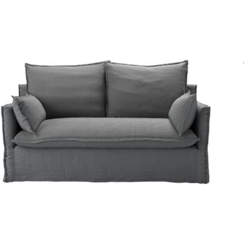 Isaac 2 Seat Sofa In Shadow Brushed Linen Cotton