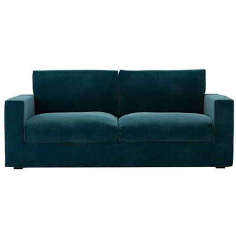 Stella 3 Seat Sofa in Deep Turquoise Cotton Matt Velvet