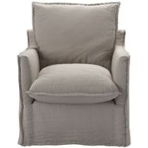 Isaac Armchair In Stone Brushed Linen Cotton
