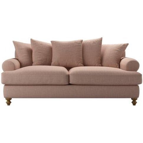 Teddy 3 Seat Sofa Bed In Blush Pure Belgian Linen