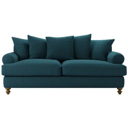 Teddy 3 Seat Sofa Bed In Evergreen Brushed Linen Cotton