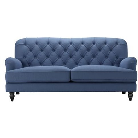 Snowdrop Button Back 3 Seat Sofa In Oxford Blue Brushed Linen Cotton
