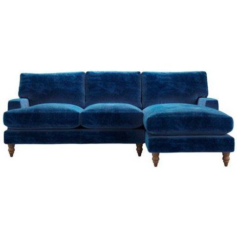 Isla Medium Rhf Chaise Sofa In Navy Filigree