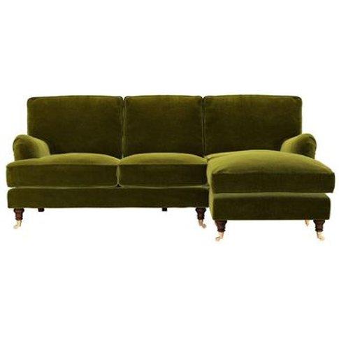 Bluebell Rhf Chaise Sofa In Olive Cotton Matt Velvet
