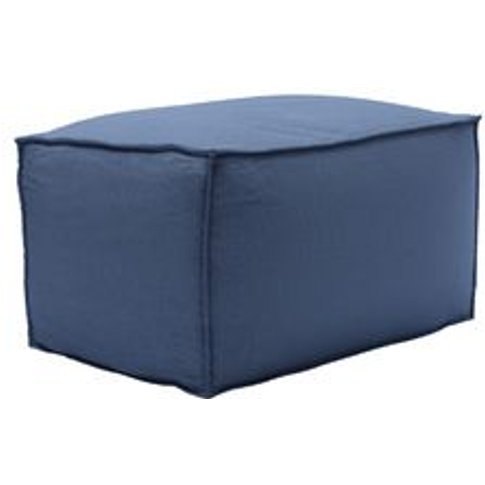 Isaac Small Rectangular Footstool In Oxford Blue Bru...