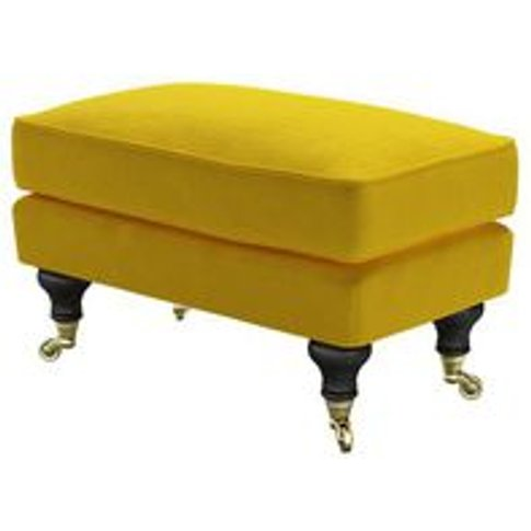 Bluebell Small Rectangular Footstool In Canary Cotto...