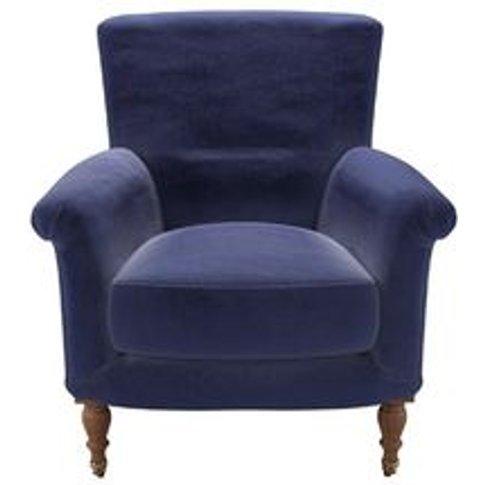 Alderney Armchair In Prussian Blue Cotton Matt Velvet