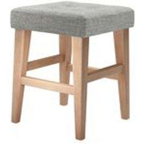 Buttons Short Stool In Grey Marl Highland Tweed