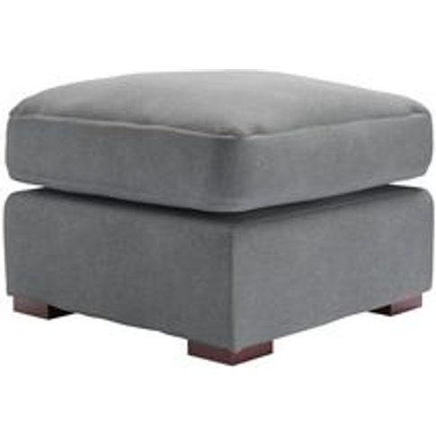 Stella Medium Square Footstool In Thatch Smart Velvet