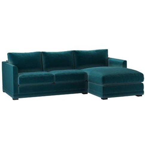 Aissa Small Rhf Chaise Sofa In Deep Turquoise Cotton...