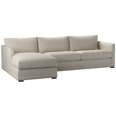 Aissa Large Lhf Chaise Sofa In Canvas Pure Belgian L...