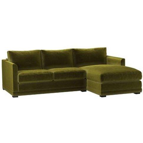 Aissa Small Rhf Chaise Sofa In Olive Cotton Matt Velvet