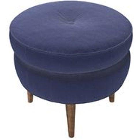 Felix Round Footstool In Prussian Blue Cotton Matt V...