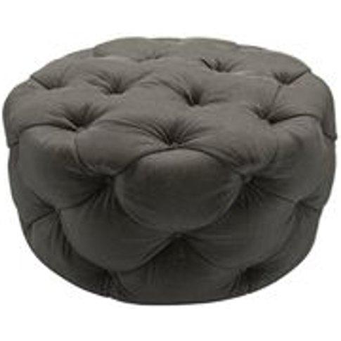 Georgette Round Footstool In Elephant Cotton Matt Ve...