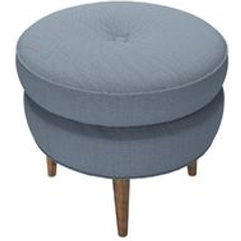 Felix Round Footstool In Loch Brushed Linen Cotton