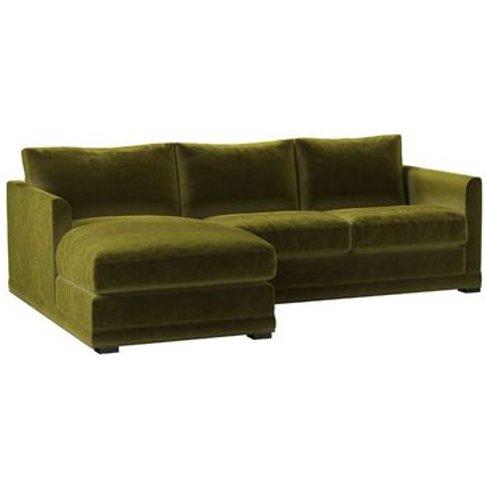 Aissa Small Lhf Chaise Sofa In Olive Cotton Matt Velvet