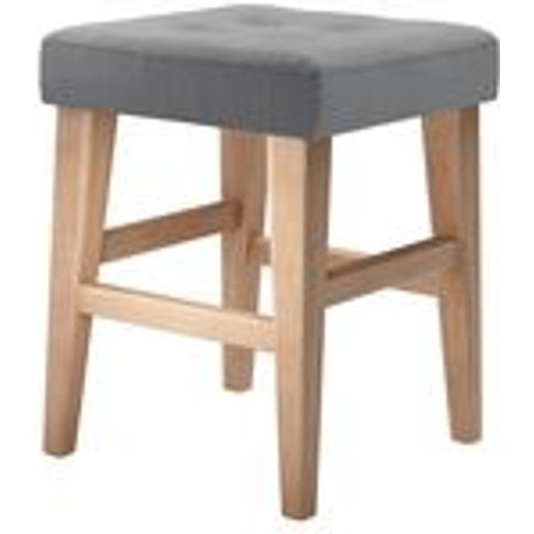 Buttons Short Stool In Shadow Brushed Linen Cotton