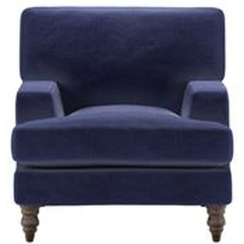 Isla Small Armchair In Prussian Blue Cotton Matt Velvet