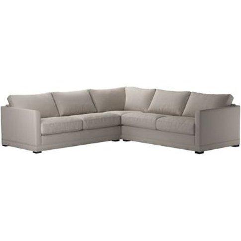 Aissa Medium Corner Sofa In Stone Brushed Linen Cotton