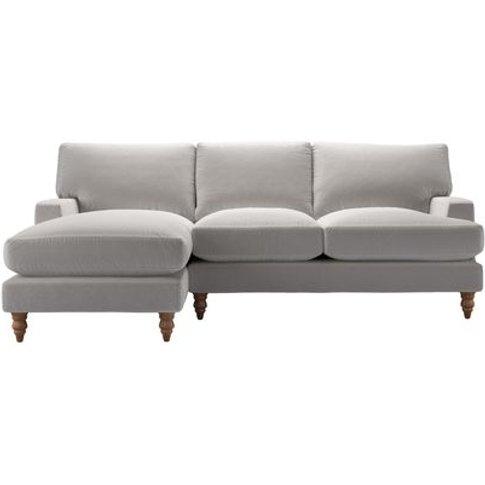 Isla Medium Lhf Chaise Sofa In Dove Smart Velvet