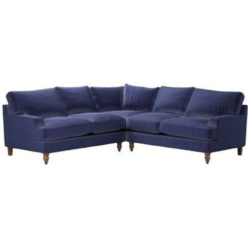 Isla Medium Corner Sofa In Prussian Blue Cotton Matt...