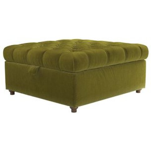 Valentin Medium Square Storage Footstool In Olive Co...