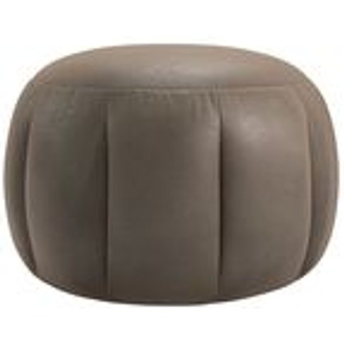 Harper Round Footstool In Latte Bellwether Leather