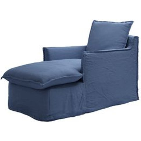 Isaac Chaise Armchair In Oxford Blue Brushed Linen Cotton