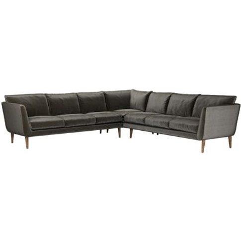 Holly Large Corner Sofa In Elephant Cotton Matt Velvet