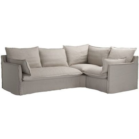 Isaac Asym: Lhf 2 Seat Sofa Bed W Rhf Single In Stone Brushed Linen Cotton