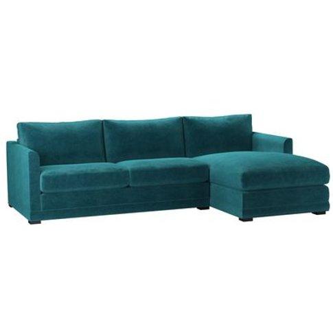 Aissa Medium Rhf Chaise Sofa In Neptune Smart Velvet