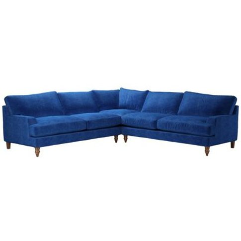 Isla Large Corner Sofa In Cobalt Smart Velvet