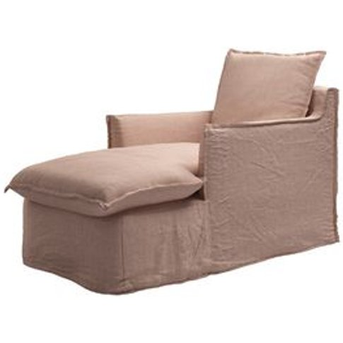 Isaac Chaise Armchair In Blush Pure Belgian Linen