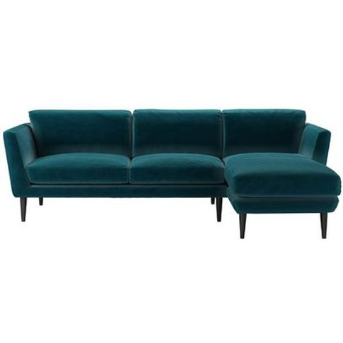 Holly Medium Rhf Chaise Sofa In Deep Turquoise Cotto...