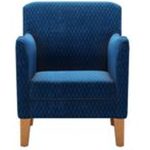 Lily Small Armchair In Royal Blue Velvet Jacquard