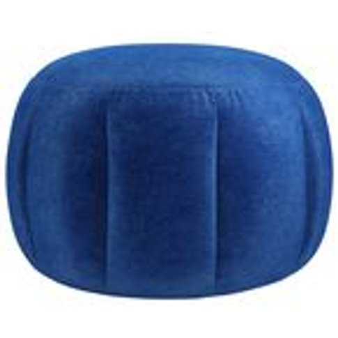 Harper Round Footstool In Cobalt Smart Velvet