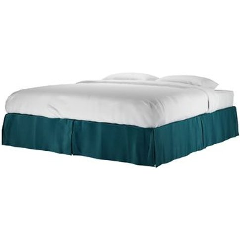 Marseille Super King Bed Valance In Deep Turquoise C...