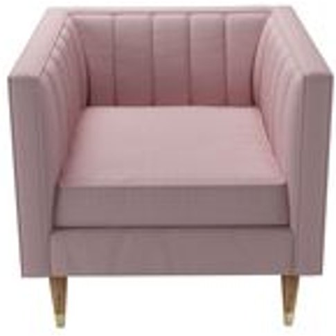 Ruby Armchair In Powder Pink Brushed Linen Cotton